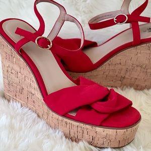 H&M Red Wedge Heeled Cork Sandal